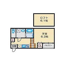 ハーモニーテラス鳴海町IV 1階1SKの間取り