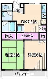 神奈川県横浜市港北区高田西2丁目の賃貸マンションの間取り