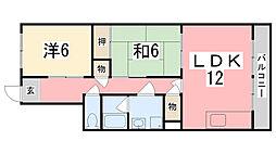 兵庫県姫路市飾磨区下野田2丁目の賃貸マンションの間取り