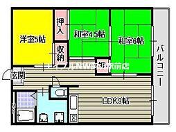 岡山県岡山市北区兵団の賃貸マンションの間取り