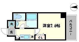 レジュールアッシュ難波MINAMI 1階1Kの間取り