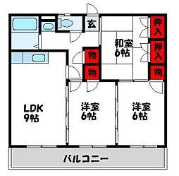 福岡県宗像市東郷1丁目の賃貸アパートの間取り