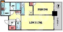 ブランズタワー梅田North(ブランズタワー梅田ノース) 12階1LDKの間取り