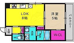 カーサフィオーレ桂 3階1LDKの間取り