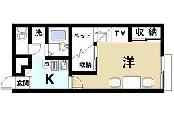 JR片町線(学研都市線) 木津駅 徒歩15分の賃貸アパート 2階1Kの間取り