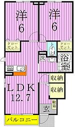 埼玉県三郷市谷口の賃貸アパートの間取り