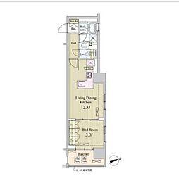 東京メトロ有楽町線 新富町駅 徒歩1分の賃貸マンション 13階1LDKの間取り