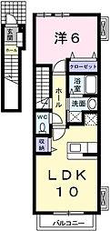 兵庫県姫路市新在家2丁目の賃貸アパートの間取り