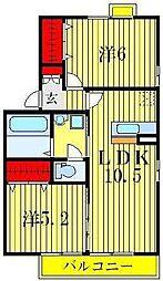 セジュールウィット幸房[2階]の間取り