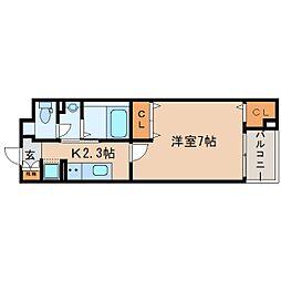 JR東海道本線 東静岡駅 徒歩4分の賃貸マンション 4階1Kの間取り