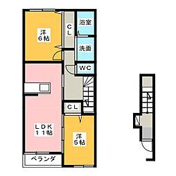 トキリバーサイドスクエアB[2階]の間取り