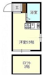 神奈川県横浜市鶴見区下末吉3丁目の賃貸アパートの間取り