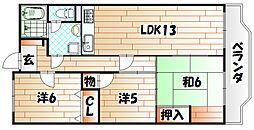 福岡県北九州市八幡東区荒手1丁目の賃貸マンションの間取り