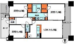 リビオ都島パークスクエアフォレストコート[10階]の間取り