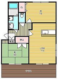大阪府高槻市上牧町2丁目の賃貸アパートの間取り