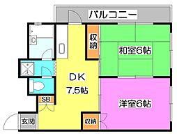 見米マンション第1[2階]の間取り