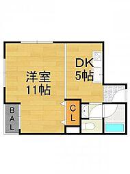 中島マンション[203号室]の間取り
