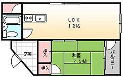 大阪府堺市堺区少林寺町東1丁の賃貸マンションの間取り