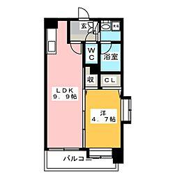 コンダクト福岡東[6階]の間取り