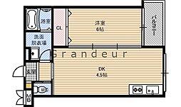 JR片町線(学研都市線) 徳庵駅 徒歩2分の賃貸マンション 2階1DKの間取り