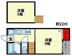 福岡県福岡市南区大楠2丁目の賃貸アパートの間取り