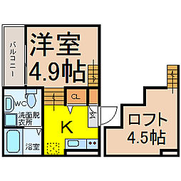 愛知県名古屋市南区明円町の賃貸アパートの間取り