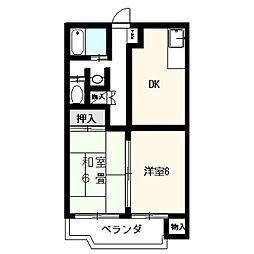 静岡県裾野市佐野の賃貸アパートの間取り