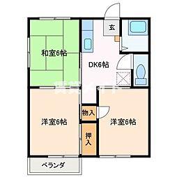 殿町ハイツ藤 B[2階]の間取り