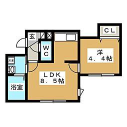 ブランノワール インセンス[4階]の間取り