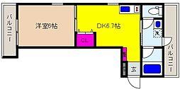 阪神本線 御影駅 徒歩7分の賃貸アパート 3階1DKの間取り