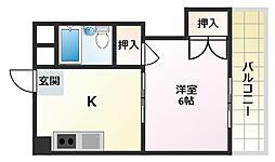 大阪府守口市河原町の賃貸マンションの間取り