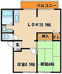 カサベルデ中澤A[2階]の間取り