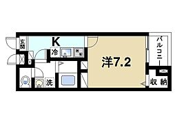 カーサ・ドマーニII 1階1Kの間取り