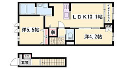JR姫新線 播磨高岡駅 徒歩27分の賃貸アパート 2階2LDKの間取り