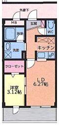 大室ノースコート[203号室号室]の間取り