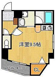グランドメゾン小倉駅東 2階ワンルームの間取り
