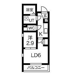 名古屋市営東山線 中村日赤駅 徒歩5分の賃貸マンション 2階1LDKの間取り