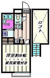埼玉県さいたま市北区櫛引町2丁目の賃貸アパートの間取り