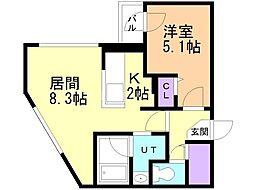 Dolce Fushimi 3階1LDKの間取り
