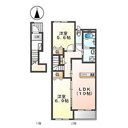 (仮称)K様賃貸アパート新築工事[2階]の間取り
