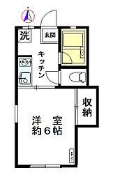 東京都世田谷区駒沢4丁目の賃貸アパートの間取り