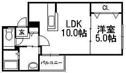 Liberte 菊水[3階]の間取り