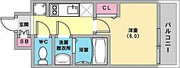 プレサンス兵庫駅前 15階1Kの間取り