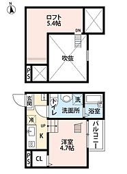 愛知県名古屋市瑞穂区浮島町の賃貸アパートの間取り
