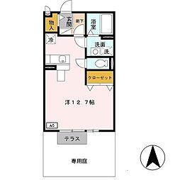 兵庫県姫路市飾磨区上野田1丁目の賃貸アパートの間取り