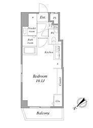 都営浅草線 浅草駅 徒歩8分の賃貸マンション 4階ワンルームの間取り
