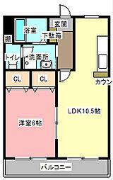 ラフォーレ中里[2階]の間取り