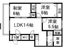 北海道札幌市西区宮の沢一条2丁目の賃貸マンションの間取り