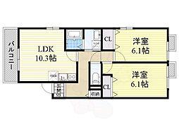 JR大阪環状線 西九条駅 徒歩5分の賃貸アパート 1階2LDKの間取り