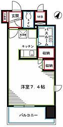JR中央本線 国分寺駅 徒歩2分の賃貸マンション 11階ワンルームの間取り